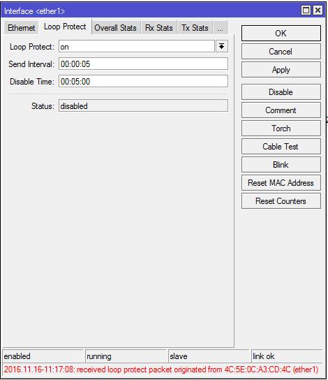 Обнаружена петля на интерфейсе ether1