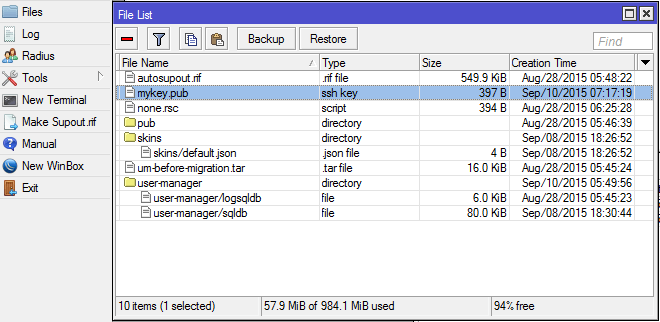 список файлов WinBox