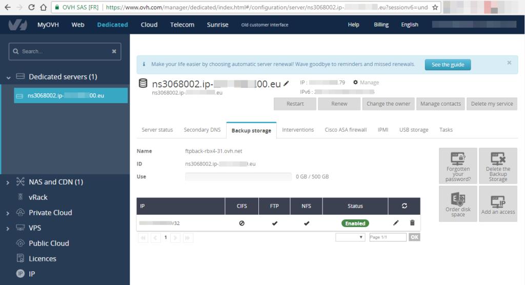 Подключение бесплатного хранилища данных OVH к хосту ESXi