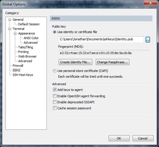 SecureCRT проверка существующих ключей