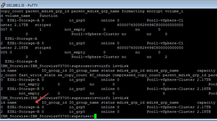 IBM Storwize v3700 lsvdisk