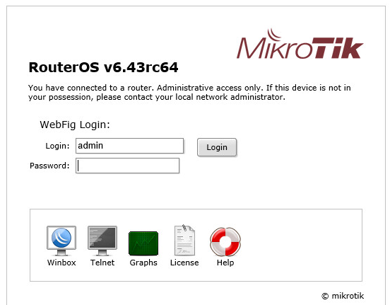 Веб-интерфейс доступа к настройкам Mikrotik