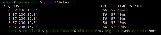 Проверяем доступность сайта 14bytes.ru по доменному имени
