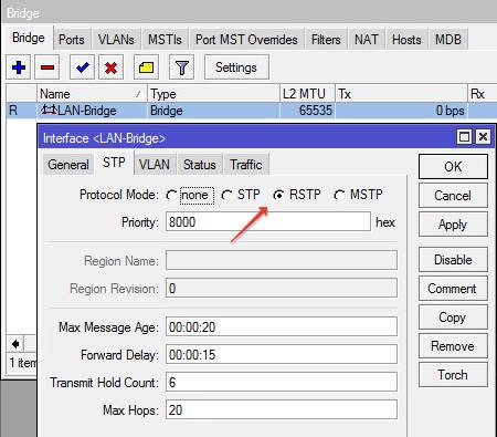 Выставляем для моста RSTP протокол защиты от петель