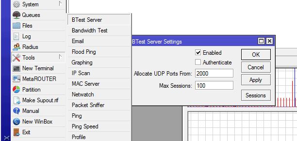 mikrotik btest server activation