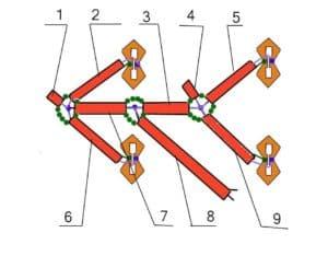 эскиз соединения коаксиальных кабелей для антенной решётки