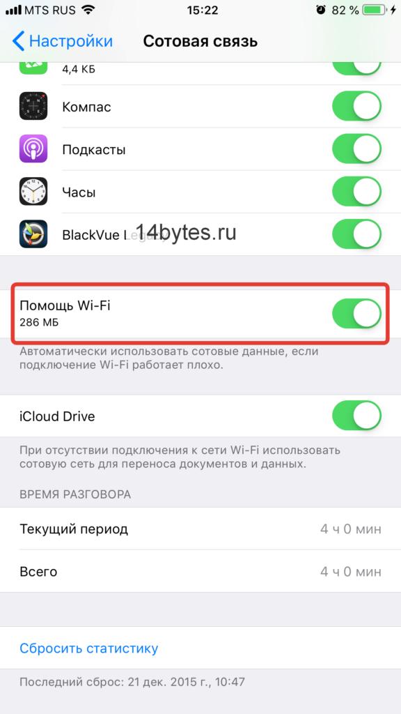 iOS Настройки Сотовая связь Помощь Wi-Fi