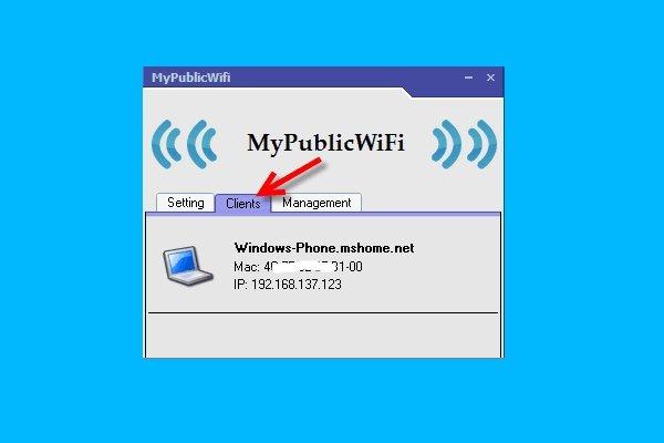 Вкладка Clients в программе MyPublicWiFi